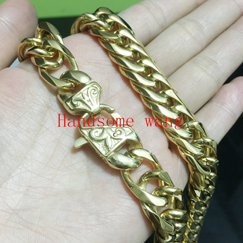 High Quality Handsome Mens Huge Heavy Jewelry 316 Stainless Steel Gold Cuba Link Chain Nacklace/Bracelet 7-40inch Choose
