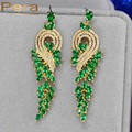 Vintage Gold Plated African And Nigerian Women Big Wedding Party Long Dangle Drop Earrings With Created Emerald Green Stone E227
