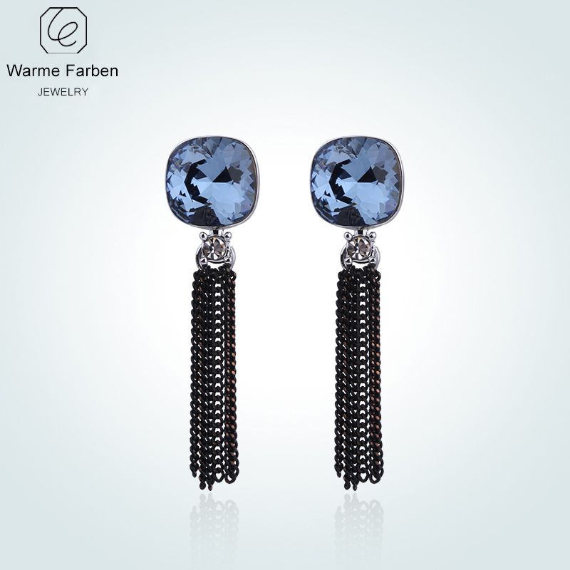 WARME FARBEN Earring for Women Crystal from Swarovski Fine Jewelry Long Tassel Square Crystal Drop Earrings for Party Brincos pair of noble faux crystal rhinestone tassel earrings for women