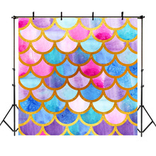 NeoBack Mermaid Backdrops Mermaid Scales Girl Birthday Theme Party Background Photography Custom Vinyl Background Studio Photo blue mermaid scales tassel necklace