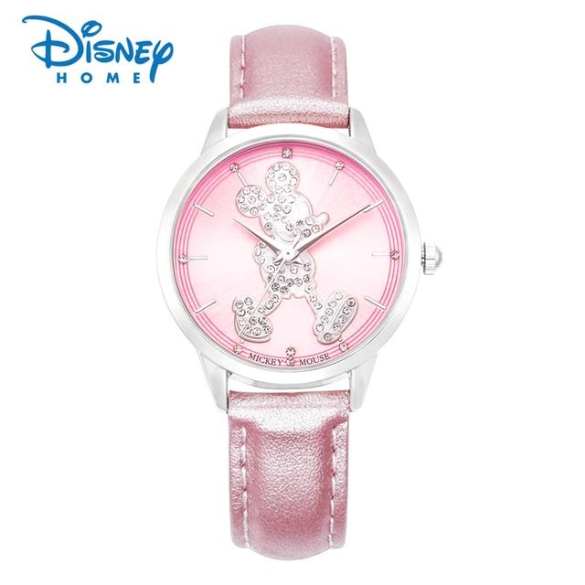 08fdb6feb6 100% montre Disney authentique femmes Mickey Mouse mode Qaurtz montres  bracelet en cuir dames montres