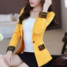 free shipping women autumn winter new Korean slim OL blazer feminino one-button long sleeve lace patchwork small suit jacket