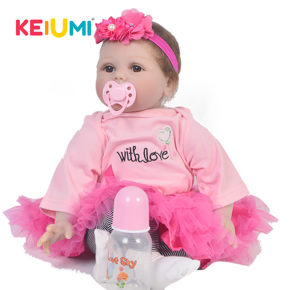 KEIUMI lifelike 22 Inch Newborn Baby Doll Cloth Body Realistic Lovely Baby Doll Toy For Children's Day Kid Christmas Gifts keiumi real 22 inch newborn baby doll cloth body realistic lovely baby doll toy for children s day kid christmas xmas gifts