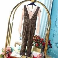 Princess sweet lolita pants Autumn Plaid trousers sweet fashion and cute bow tie V strap small leg casual pants women UF149