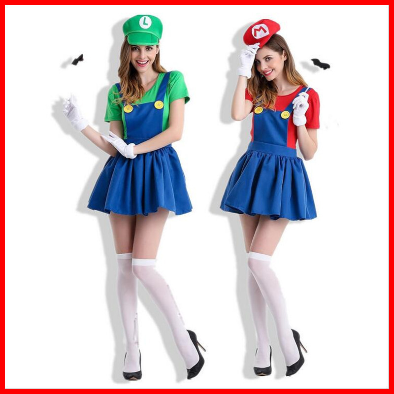 Super Mario Bros Costumes Adult Party Costume Girl Lady Sexy Mario