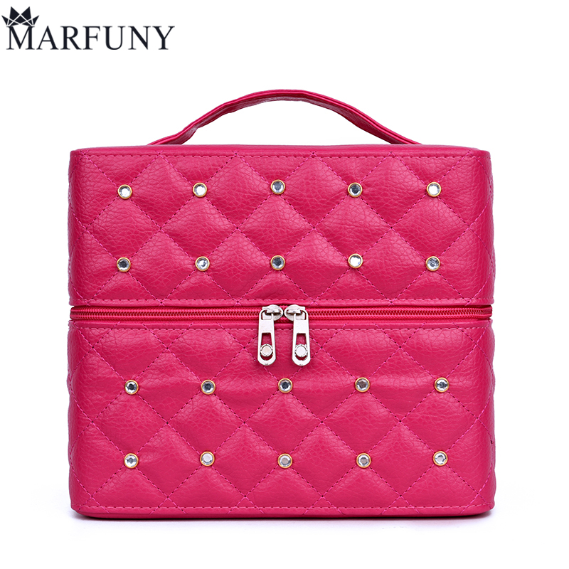 MARFUNY Brand Women Cosmetic Box Makeup Bag Female Diamond Professional Cosmetic Bag Women Three Layers Makeup Case Pouch Necese marfuny brand tassel shoulder bag female