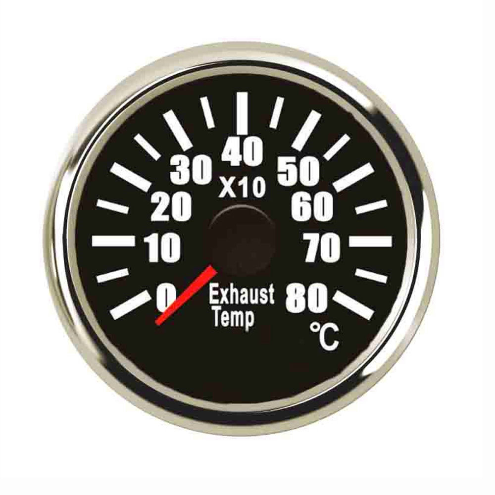 52mm Marine Exhaust Gas Temperature Gauge 0~800 Degrees Celsius Fit Boat Yacht Car Exhaust Temperature Sensor marine 52mm ammeter amp gauge with current sensor for motorcycle car marine boat yacht with backlight 12v 24v 150a 80a