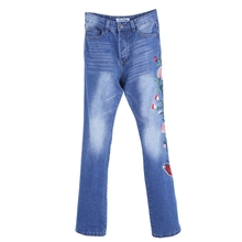 Vintage Men's Sided Embroidery Floral Brand Blue Jeans Pant Slim fit Fashion Cool Bootcut Jeans 2017 Hot New