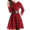 Women Maxi Dress Red Grid Dress With Black Belt Sleeve Slim Long Sleeve Suede Knee Length Elegant Fashion Women Party Dress