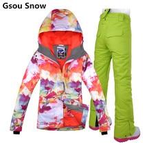 Gsou Snow winter ski suit female snowboard ski jacket pants women 4 size XS S M L veste ski femme sale on clearance