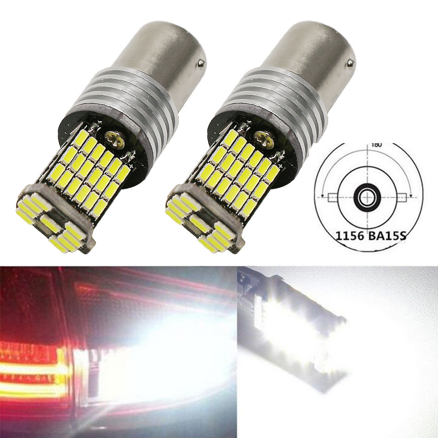 1156 P21W BA15S 2Pcs Error Free 850LM 4014 45SMD Decoder Lamp Canbus Bulb Reverse Turn Signals Lights With Resistor LED Lamp
