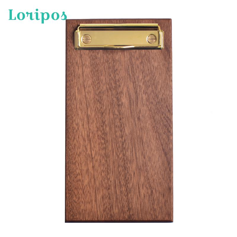 Brass Solid Wood Menu Holder Restaurant Coffee Shop Menu Clip Board Cushion Panel Clip File Board Holder Metal Label Clip Bill