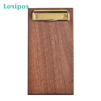 Brass Solid Wood Menu Holder Restaurant Coffee Shop Clip Board Cushion Panel File Metal Label Bill