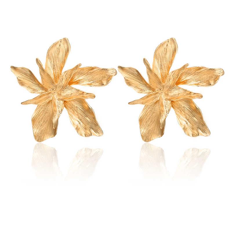 Docona Elegance Silver GOLD ใหญ่ดอกไม้ DROP Dangle ต่างหูผู้หญิงอินเทรนด์โลหะ Floral PARTY ของขวัญเครื่องประดับ Pendientes 3839