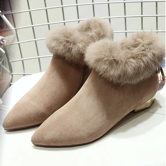 51e52c0266 Pointed Toe Women Boots Chunky Heels Shoes Woman Suede Plush 2018 Winter  Snow Ankle Boots For Women Botas Black Botines Mujer