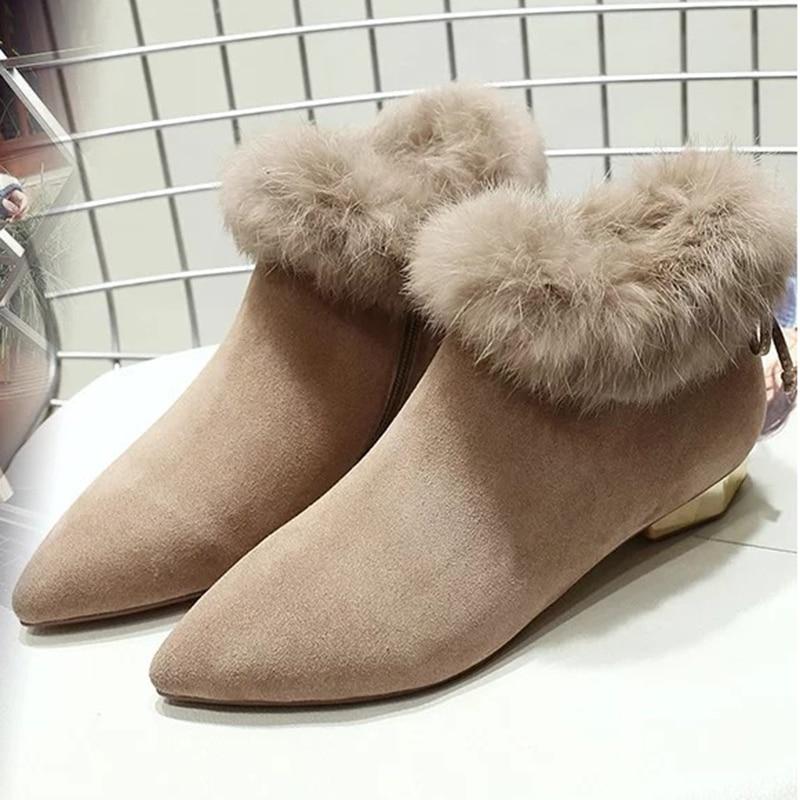 7fe870496 De Mujer Tacones Chunky Punta Botas Zapatos Mujeres wRgzF