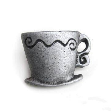 antique / archaize creative coffee cup furniture handle antique silver drawer kitchen cabinet dresser door knob pull kids knobs creative closestool style coffee cup with cap spoon blue black