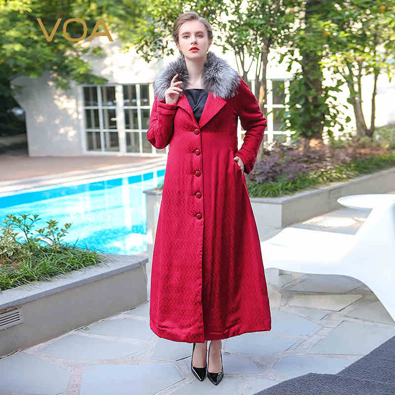 Fox fur large lapel red silk dobby parkas ladies x long soild color coton pardded jacket thickkening M6288