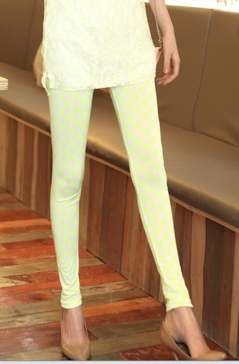 Fashion all-match 2013 checkerboard palid neon color comfortable milk, silk viscose legging