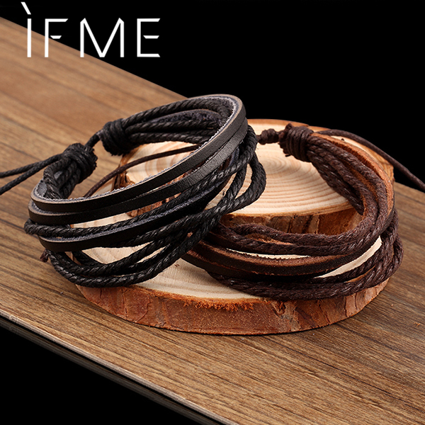 2017 Vintage Retro Punk Handmade Fashion Jewelry multilayer Leather Braided Rope