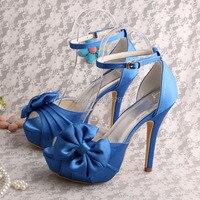 (20 Kolory) Mały Rozmiar Royal Blue Buty Platformy Sandały Ślubne z Kokardkami
