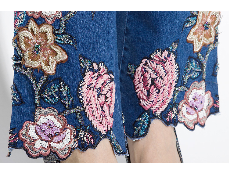 FERZIGE 2019 Women Jeans with Embroidery High Waist Luxury Denim Pants Manual Embroidered Bell Botto