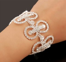 elegant Bridal Jewelry Wedding party Accessories Bracelet Wrist Band cuff bangle silver Jb083