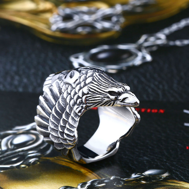 Beier 316L Stainless steel nose viking raven head  Ring For Man Hip-Hop Biker Boy's Cool Jewelry LR329