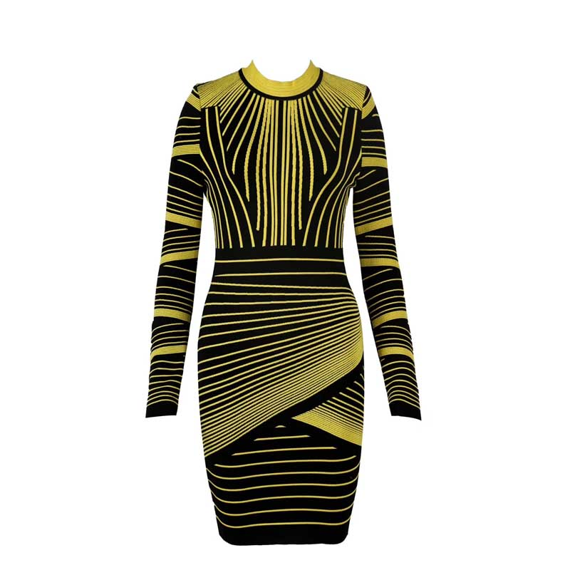 卸売 2019 秋と冬の新ドレスイエローグリーンジャカード長袖豪華なセレブブティック包帯ドレス (H2585)  グループ上の レディース衣服 からの ドレス の中 2
