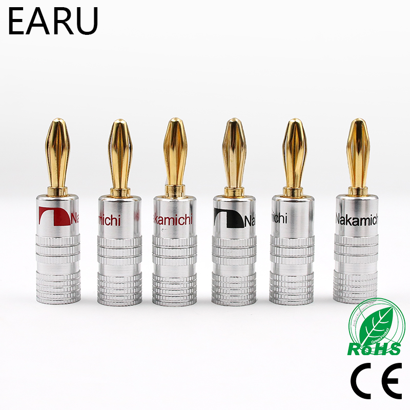 100pcs GD Amp Nakamichi Speaker Banana plug connectors 24K Gold Speaker Banana Plugs For Video Speaker