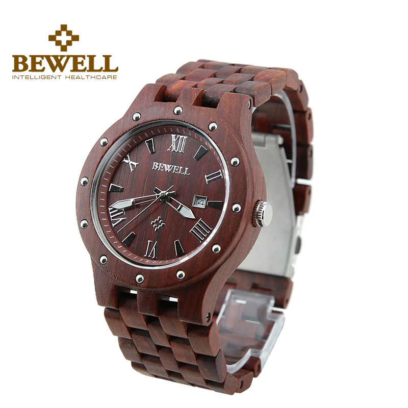 Bewell Men Classical Red Wood Watch Roman Numeral Analog Dial Quartz Watch Calendar Folding Clasp Male Wristwatches W109A analog футболка analog mb numeral brooke