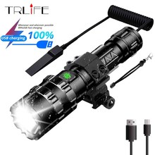 65000Lumens Portable Tactical Scout Light Rifle Hunting Flashlight Weapon Light LED Torch With Remote Pressure Switch and Mount 1000 lm xml t6 led tactical flashlight hunting torch light rifle lights picatinny weaver mount charger 18650 battery