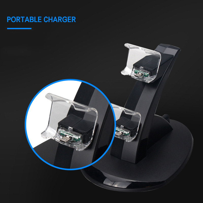 Image 3 - Controller Charger Dock LED Dual USB PS4 Stand up Charger For Sony PlayStation 4 / PS4 Pro Wireless Game Handle Joystick holder-in Chargers from Consumer Electronics