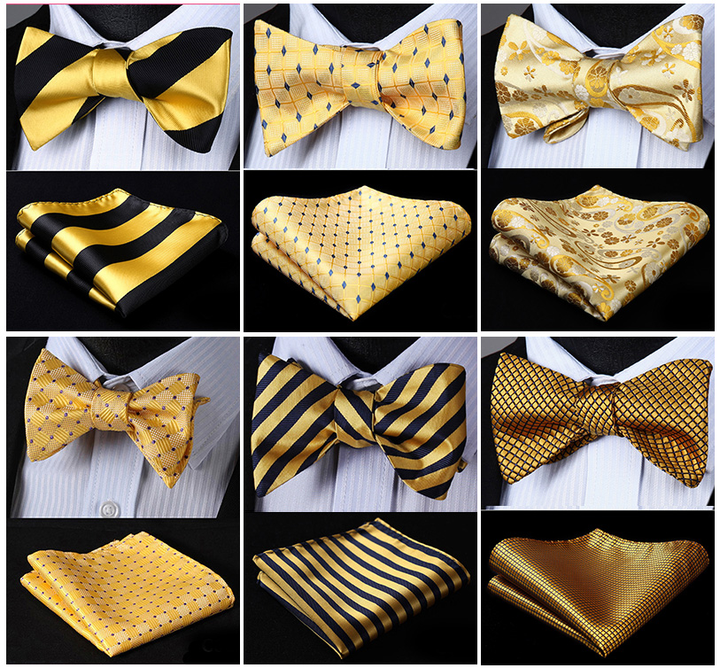 Bow Tie Handkerchief  Men's Gold YellowSelf Bow Tie Set Woven Silk Plaid Party Wedding