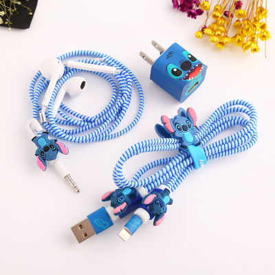 Fashion Cute Cartoon USB Cable Earphone Protector Set With Cable Winder Stickers Spiral Cord Protector For iphone 5 6 6s 7plus zuczug 3pcs 60cm spiral cord protector wrap cable winder for usb charger cable cute animal organizer for data cable earphone