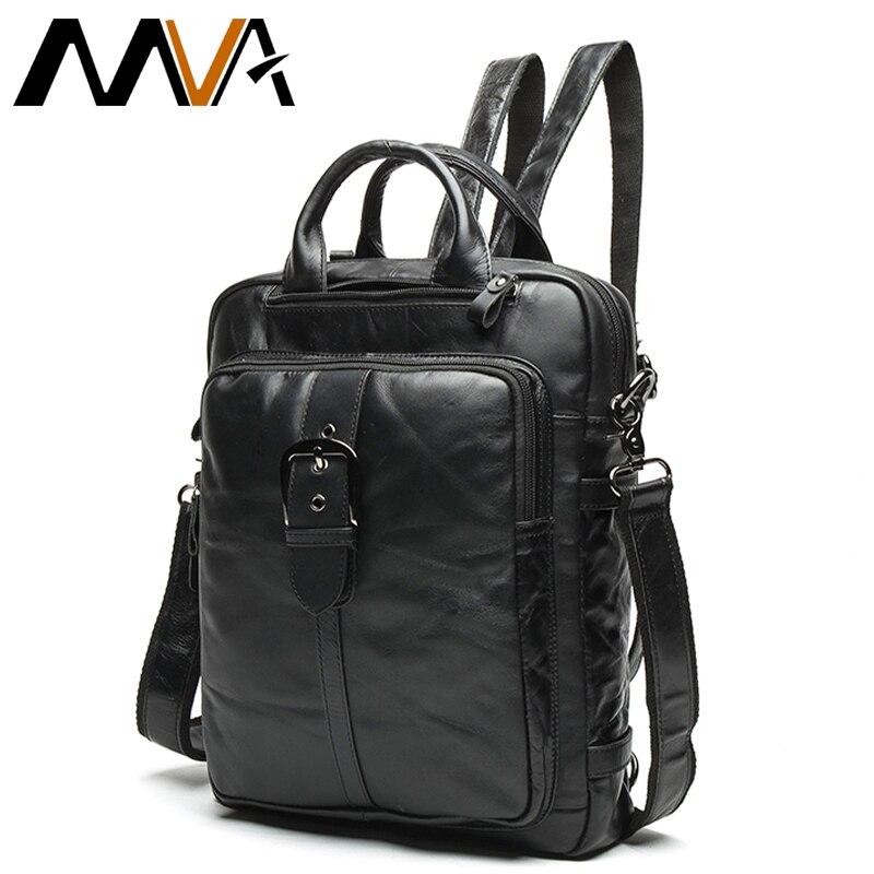 Hommes Messenger sacs à dos en cuir véritable noir sac à dos pour femmes couche supérieure en cuir de vache hommes affaires sac à bandoulière sac à dos 8863