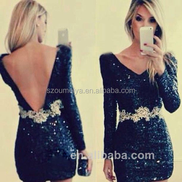 f1d206094ff12 OUMEIYA ORC95 Short Tight Long Sleeve Backless Sexy Bling Bling ...