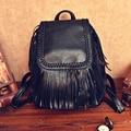 Las mujeres de La Borla de La Mochila Con Cordón de La Vendimia de cuero negro Bolsas de viaje Mochila mochila feminina mochila Franja adolescente mochila escolar
