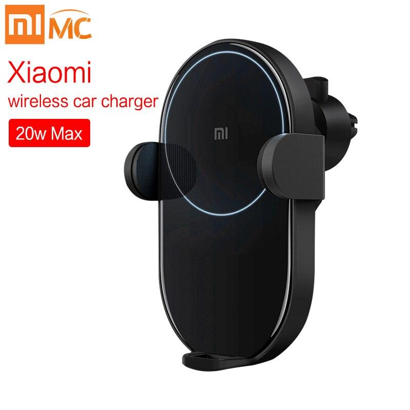 Neue Xiao mi mi Drahtlose Auto Ladegerät 20W 2.5D Glas Elektrische Auto Prise Ring Lit Lade für Xiao mi smart telefon iPhone autolader