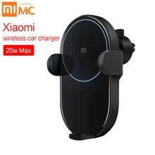 새로운 xiao mi mi 무선 자동차 충전기 20 w 2.5d 유리 전기 자동 핀치 링 xiao mi 스마트 폰 iphone carcharger 충전 조명