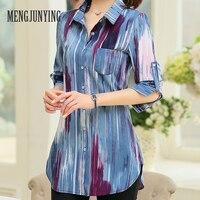 MYJ Vrouwelijke Print Zomer Blouse Big Size Apparel Blauw vrouwelijke Shirt Wit Casual Lomg mouwen Losse Fit Vrouwen Blusas M-5XL 717 (2)