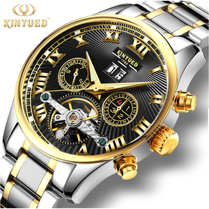 Image 1 - KINYUED Business Mechanical Watches Mens Skeleton Tourbillon Automatic Watch Men Gold Steel Calendar Waterproof Relojes Hombre