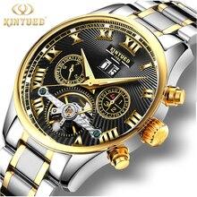 KINYUED 비즈니스 기계식 시계 Mens Skeleton Tourbillon 자동 시계 남성 골드 스틸 캘린더 방수 Relojes Hombre