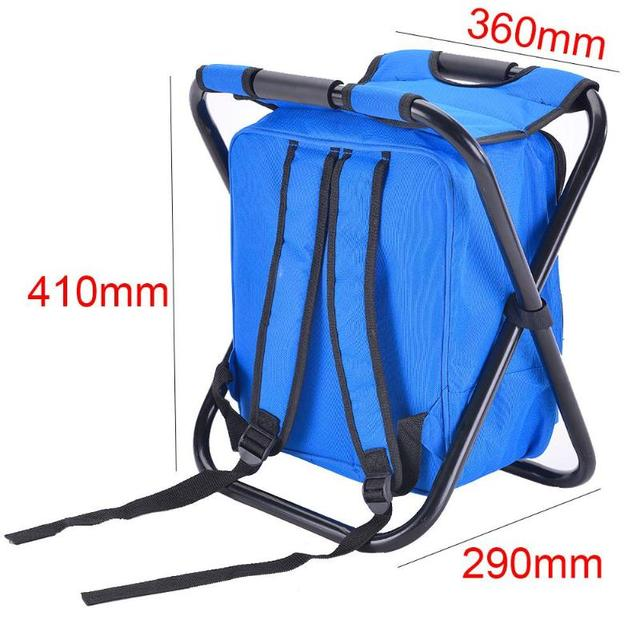 Outdoor Fishing Chair Bag Folding Camping Stool Portable Backpack Cooler Insulated Picnic Bag Hiking Seat Table Bag Bear 150KG 5