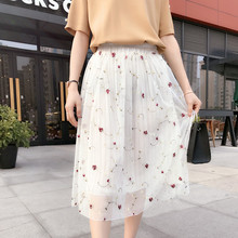 5377 skirts embroidered flowers in long gauze skirt A word skirt 48