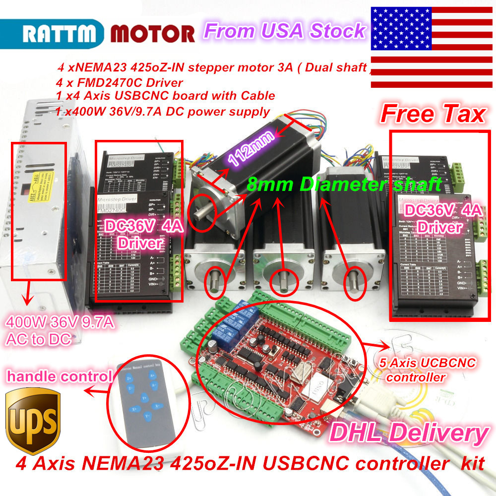 USA SHIP/free ship 4 Aixs USBCNC Controller kit Nema23 425oz-in,112mm,3A (Dual Shaft) Stepper Motor for CNC Engraving machine usa free ship 3pcs nema23 wantai stepper motor 428oz in 57bygh115 003b dual shaft 3a