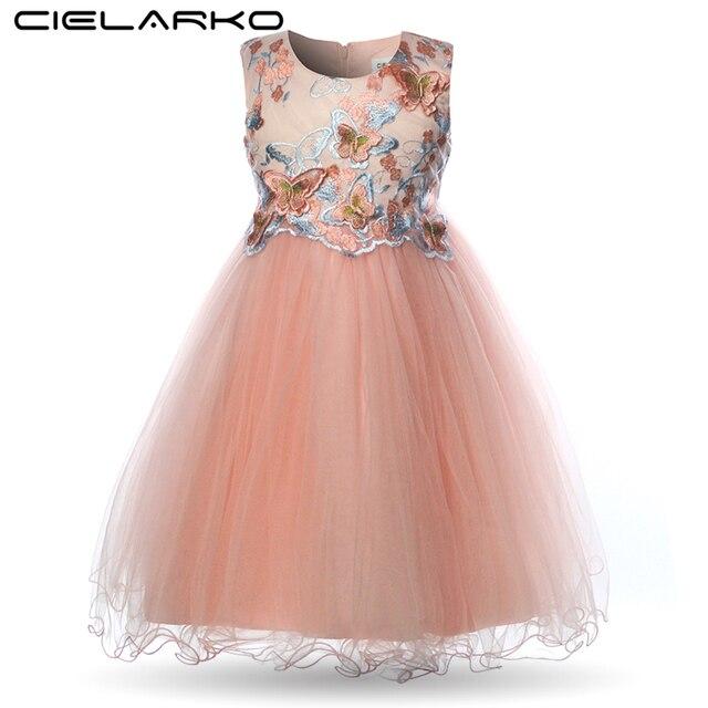 Cielarko Girls Dress Butterfly Kids Flower Dresses Birthday Tulle Children Wedding Party Frocks Formal Baby Ball Gown for Girl