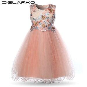 Image 1 - Cielarko Kız Elbise Kelebek Çocuk Çiçek Elbiseler Doğum Günü Tül Çocuk Düğün Parti Frocks Resmi Bebek Balo Kız için