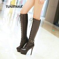 Women Winter Platform Thin High Heel Knee High Boots Fashion Buckle Lace Up Sexy Shoes Women