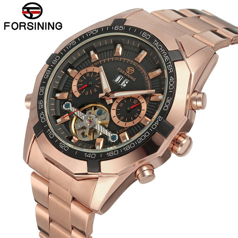 FORSINING New 2017 Luxury Men Rose Golden Flywheel Day Automatic Wrist Mechanical Watch Gift Box Free Ship classic luxury formal unisex dress quartz men women wrist watch rose golden metallic strap decorational subdial gift box